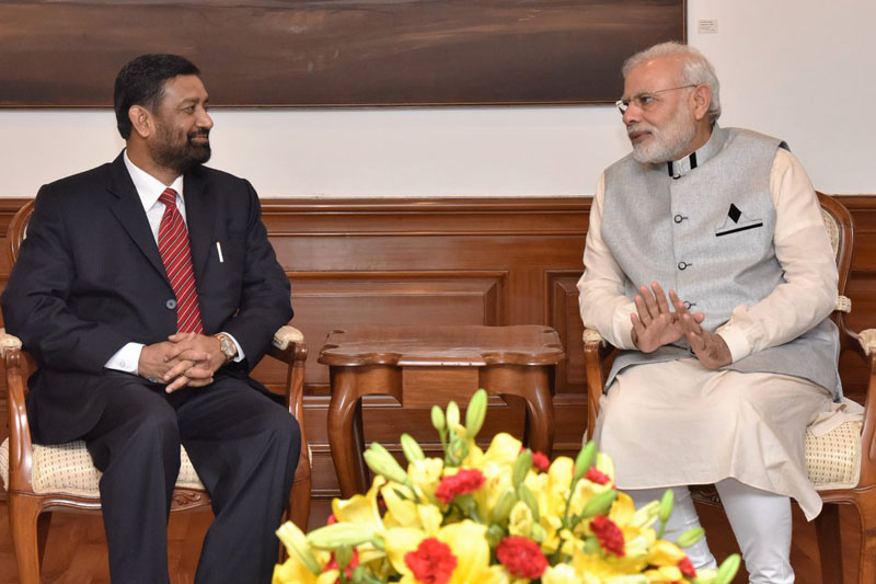 Deputy Prime Minister and Minister for Home Affairs Bimalendra Nidhi meeting Indian Prime Minister Narendra Modi in New Delhi on Saturday, August 20, 2016. Photo: MEAIndia/Twitter