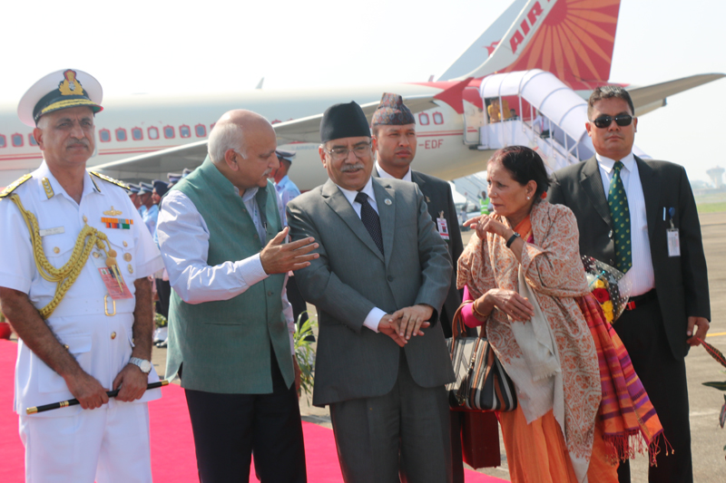 Nepal's Prime Minister Pushpa Kamal Dahal escorted by officials as he lands at the Goa International Airport in India, to attend the BRICS-BIMSTEC Outreach Summit, on Saturday, October 15, 2016. Photo: PM's Secretariat