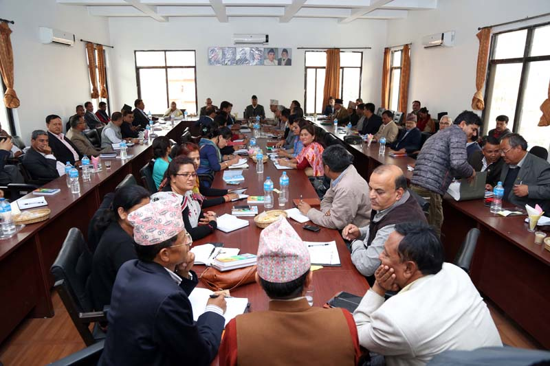 Newly elected president of the Nepali Congress (NC) Sher Bahadur Deuba attending the first Central Committee Meeting (CWC) at the Party Office, in Sanepa, Lalitpur, on Friday, March 18, 2016. Photo: RSS