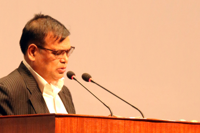 Deputy Prime Minister and Minister for Finance Krishna Bahadur Mahara addresses the Parliament meeting on Thursday, September 1, 2016. Photo: RSS