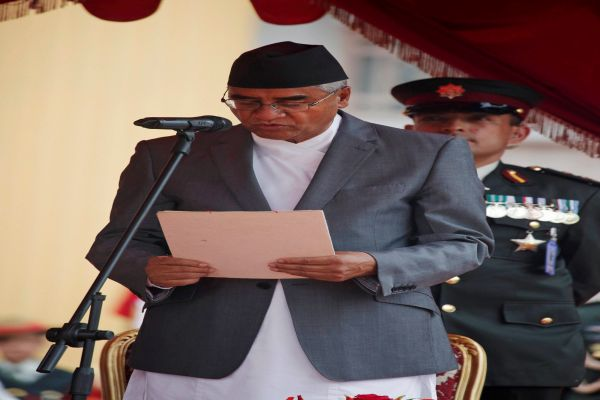 Deuba-sworn-in-as-Nepal-PM-forms-small-Cabinet