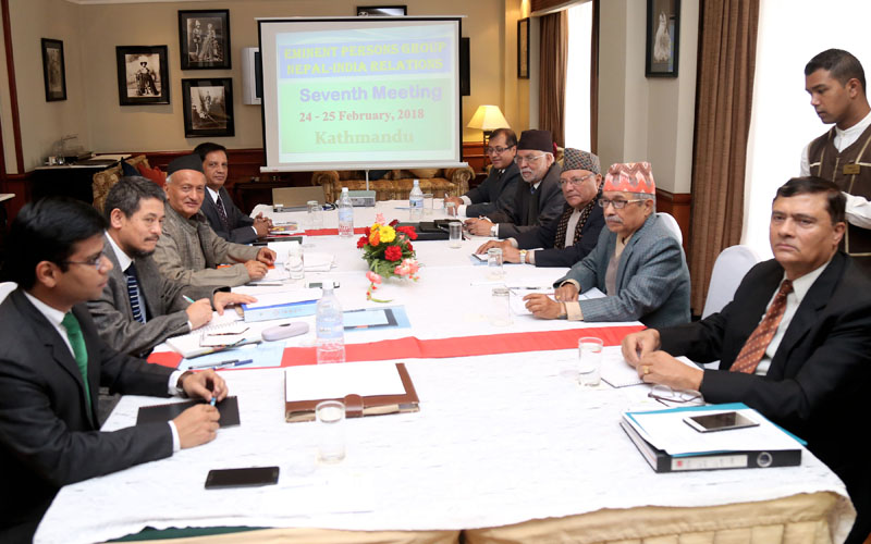 Delegates attend the 7th annual meeting of the Eminent Persons Group (EPG) on Nepal-India relations in Kathmandu, on Saturday, February 24, 2018. Photo: RSS