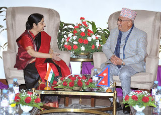 Minister for External Affairs of India Sushma Swaraj meeting CPN-UML Chairman KP Sharma Oli, in Kathmandu, on Thursday, February 1, 2018. Photo courtesy: Embassy of India